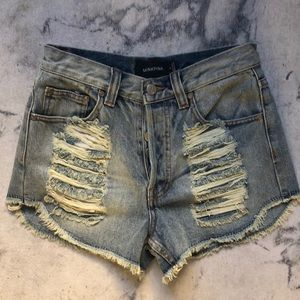 MINKPINK Slasher Flick High Waisted Denim Shorts S